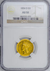 Click now to see the BUY IT NOW Price! 1854 D INDIAN PRINCESS $3 NGC AU 50