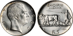 Click now to see the BUY IT NOW Price! 1926 R ALBANIA ZOG I SILVER 5 FRANGA ARI PCGS MS65