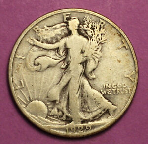 1929 D WALKING LIBERTY HALF DOLLAR 90  SILVER
