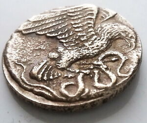 GREEK COIN SILVER PLATED EAGLE / SNAKE ANCIENT GREECE ATHENS ANIMAL COIN  19