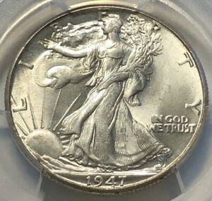 1947 D SILVER WALKING LIBERTY HALF DOLLAR 50C PCGS MS64   WHITE LUSTROUS BLAZER