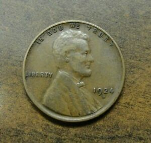 1924 D LINCOLN WHEAT PENNY  BETTER DATE & GRADE FULL WHEAT LINES