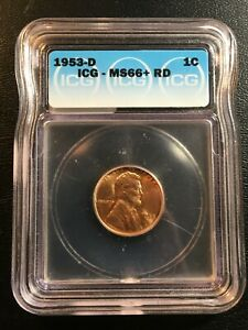1953 D WHEAT CENT ICG MS 66  RED   UNCIRCULATED HIGH GRADE   CERTIFIED SLAB   1C