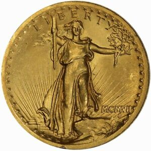 1907 $20 HIGH RELIEF WIRE EDGE SAINT GAUDENS PCGS MS64 CAC