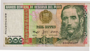 PAPE MONEY  PERU 1000 INTIS  1988  OT 40