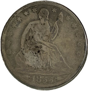 1855 O SILVER SEATED LIBERTY HALF DOLLAR 50 CENTS US COIN SI447