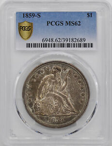 1859 S LIBERTY SEATED S$1 PCGS MS 62