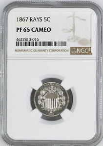 Click now to see the BUY IT NOW Price! 1867 SHIELD 5C NGC PR 65 CAM