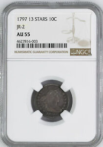 1797 DRAPED BUST 10C NGC MS 55