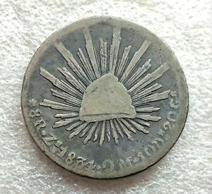 1834 ZS OM MEXICO CAP & RAYS 8 REALES BETTER DATE CIRCULATED  1