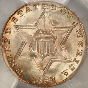 Click now to see the BUY IT NOW Price! 1858 THREE CENT SILVER PCGS MS67