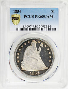 Click now to see the BUY IT NOW Price! 1854 LIBERTY SEATED S$1 PCGS PR 65 CAM