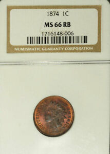 Click now to see the BUY IT NOW Price! 1874 1C MS66RB NGC  INDIAN HEAD CENT
