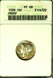 Click now to see the BUY IT NOW Price! 1939 10C PR68 ANACS NICE COLOR TONING  MERCURY DIME