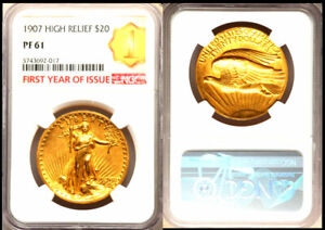 1907 $20 HIGH RELIEF LETTERED EDGE PR61 NGC  FIRST YEAR OF ISSUE