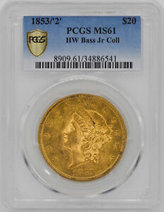 Click now to see the BUY IT NOW Price! 1853/2 LIBERTY HEAD $20 PCGS MS 61