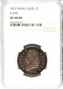 1812 1C S 290 SMALL DATE XF40BN NGC CLASSIC HEAD LARGE CENT