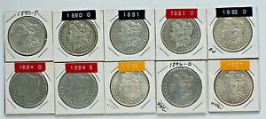 MORGAN DOLLARS 1892 O CHOSE 4 FROM 16 DIFFERENT DATE/MM: 1883 1884 1890 1897