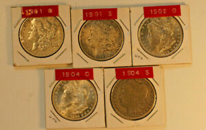 MORGAN DOLLARS 5 DATES 1901 O 1901 S 1902 O 1904 O 1904 S