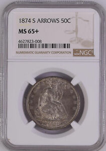 Click now to see the BUY IT NOW Price! 1874 S LIBERTY SEATED 50C NGC MS 65