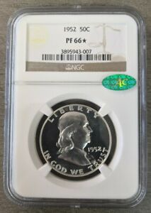 1952 50C SILVER PROOF FRANKLIN HALF DOLLAR NGC PF 66 STAR WITH CAC