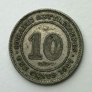 DATED : 1927   SILVER COIN   STRAITS SETTLEMENTS   10 CENTS   KING GEORGE V