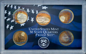 Click now to see the BUY IT NOW Price! 2005 S UNITED STATES MINT PROOF QUARTERS SET BU UNC STUPENDOUS COLOR TONED