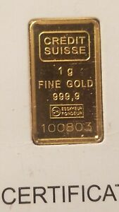 Click now to see the BUY IT NOW Price! CREDIT SUISSE 999.9 PURE 1 GRAM GOLD BAR INGOT SEALED IN ASSAY CARD 1 G AG