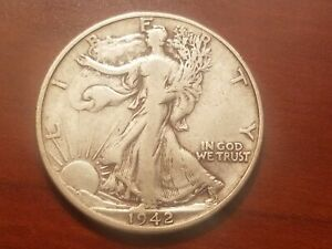 Click now to see the BUY IT NOW Price! 1942 D WALKING LIBERTY HALF DOLLAR SILVER COIN 50 CENTS WALKER 50C WWII RELIC
