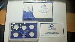 US MINT 2001 PROOF SET PACKAGE / BOX LENS & CERTIFICATE. NO COINS.