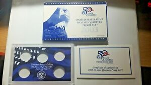 US MINT 2003 PROOF SET PACKAGE / BOX LENS & CERTIFICATE. NO COINS.