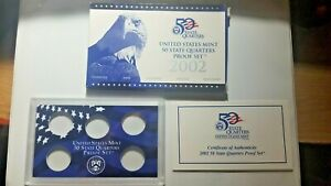 US MINT 2002 PROOF SET PACKAGE / BOX LENS & CERTIFICATE. NO COINS.