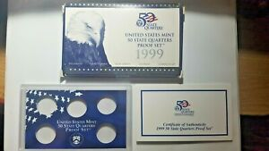 US MINT 1999 PROOF SET PACKAGE / BOX LENS & CERTIFICATE. NO COINS.