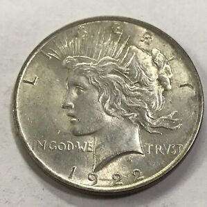 CHOICE AU/UNC 1922 PEACE SILVER DOLLAR   90  SILVER