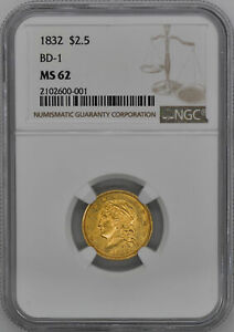 1832 CAPPED BUST $2.5 NGC MS 62