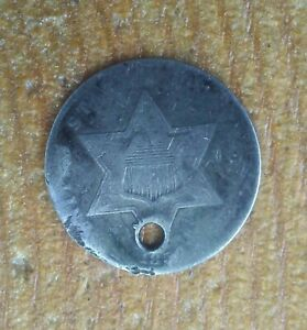 ANTIQUE 1850'S THREE CENT SILVER COIN.