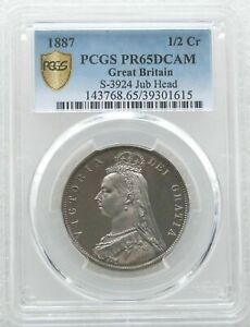 Click now to see the BUY IT NOW Price! 1887 BRITISH VICTORIA JUBILEE HEAD SILVER PROOF HALF CROWN COIN PCGS PR65 DCAM