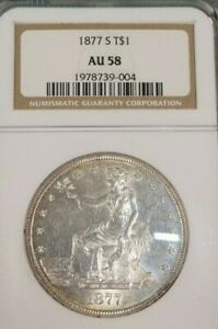 1877 S__U.S. TRADE SILVER DOLLAR__NGC AU 58__BEAUTIFUL  &  FROSTY WHAT A LOOKER