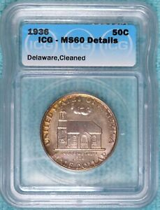 1936 MS 60 DETAILS DELAWARE COMMEMORATIVE HALF 20 993 MINTED