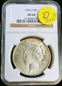 1926 D  NGC MS 64 PEACE DOLLAR NGC  ERROR LABELED S SHOULD BE D