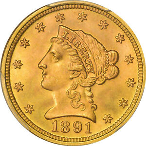 Click now to see the BUY IT NOW Price! 1891 $2.50 LIBERTY HEAD QUARTER EAGLE PCGS MS67  CAC