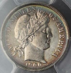 1900 BARBER SILVER DIME PCGS AU DETAILS SMOOTHED TONED    DOUBLEJCOINS  3008 38