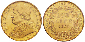 Click now to see the BUY IT NOW Price! 1868 R ANNO XXIII ITALY PIUS IX GOLD 100 LIRE PCGS MS62