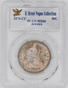 Click now to see the BUY IT NOW Price! 1874 CC LIBERTY SEATED 50C PCGS MS 66