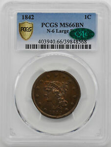 Click now to see the BUY IT NOW Price! 1842 BRAIDED HAIR 1C PCGS MS 66 BN