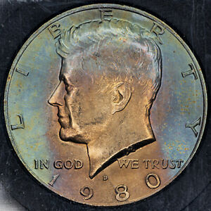 Click now to see the BUY IT NOW Price! 1980 D KENNEDY HALF DOLLAR SLABBED BU UNC COLOR TONED GEM CHOICE  MR