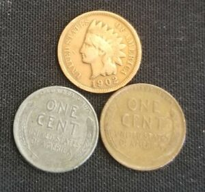 OLD US COIN  LOT INDIAN HEAD LINCOLN WHEAT & STEEL PENNY CENT 3 COIN SET.