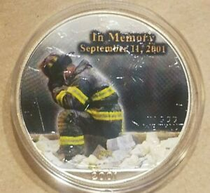 Click now to see the BUY IT NOW Price! 2001 AMERICAN SILVER EAGLE 9/11 NYFD NEW YORK FIREFIGHTER SEPTEMBER 11 COLORIZED