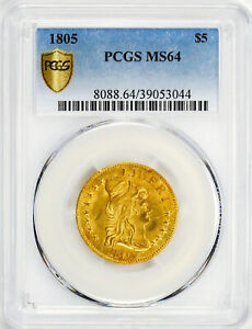 1805 DRAPED BUST $5 PCGS MS 64