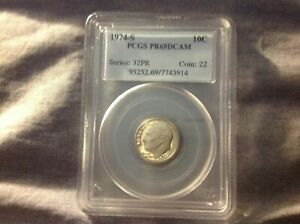 1974 S ROOSEVELT DIME PROOF 69 DEEP CAMEO GRADED BY PCGS